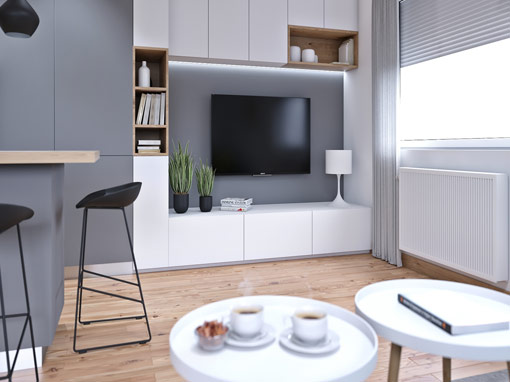 INTERIOR DESIGN OF THE LIVING AREA OF THE APARTMENT IN PREČKO