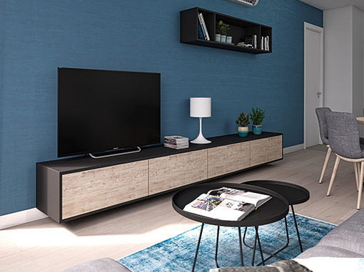 INTERIOR DESIGN OF THE LIVING AREA OF THE APARTMENT IN VOLTINO