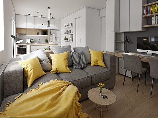 INTERIOR DESIGN OF THE LIVING AREA OF THE APARTMENT IN ŠESTINE